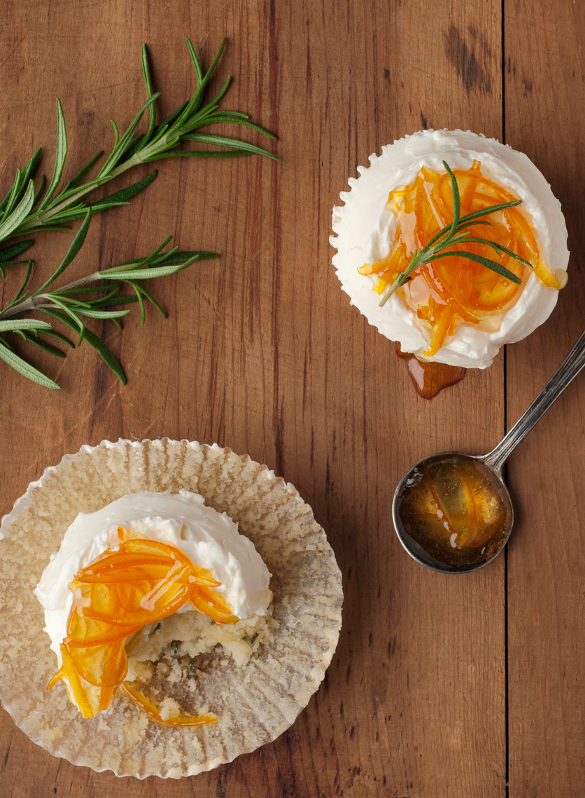 orange marmalade rosemary cupcake